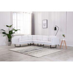 Sofá de canto couro artificial branco - PORTES GRÁTIS