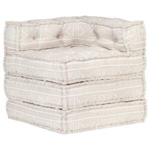 Sofá de canto modular tecido castanho-claro - PORTES GRÁTIS