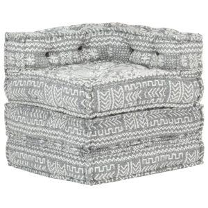 Sofá de canto modular tecido cinzento-claro - PORTES GRÁTIS