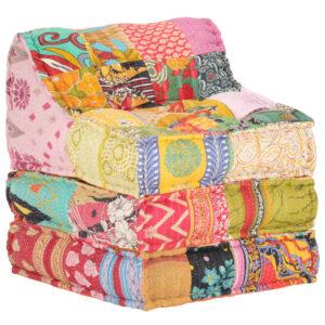 Sofá lounge modular tecido em retalhos - PORTES GRÁTIS