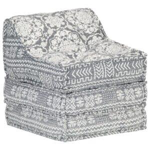 Sofá lounge modular tecido cinzento-claro - PORTES GRÁTIS