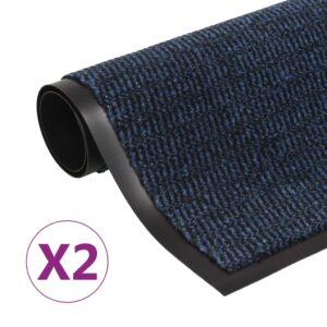 Tapete controlo pó retangular tufado 2 pcs 120x180 cm azul - PORTES GRÁTIS