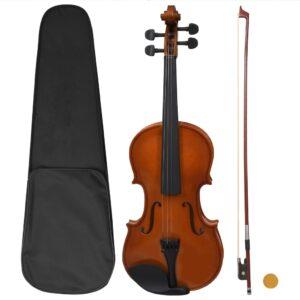 Conj completo violino c/ arco e apoio queixo madeira escura 4/4 - PORTES GRÁTIS