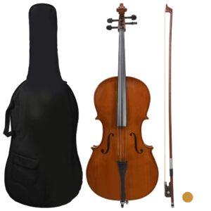 Conj. completo violoncelo c/ saco e arco madeira escura 4/4 - PORTES GRÁTIS