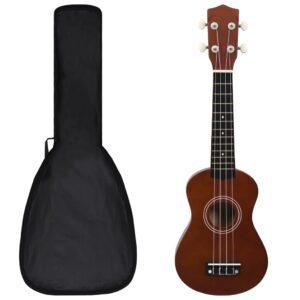 Conjunto ukulele soprano infantil c/ saco madeira escura 21