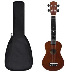 Conjunto ukulele soprano infantil c/ saco madeira escura 23