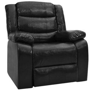 Sofá reclinável couro artificial preto - PORTES GRÁTIS