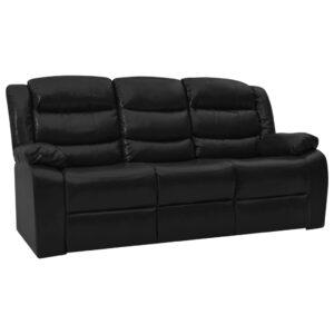 Sofá reclinável de 3 lugares couro artificial preto - PORTES GRÁTIS