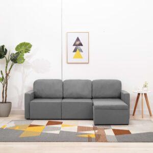 Sofá-cama modular de 3 lugares tecido cinzento-claro - PORTES GRÁTIS