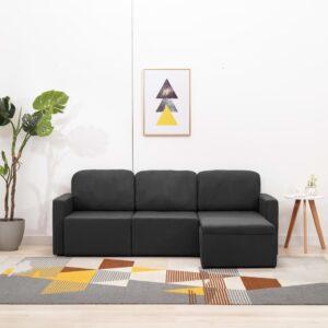 Sofá-cama modular de 3 lugares tecido cinzento-escuro - PORTES GRÁTIS