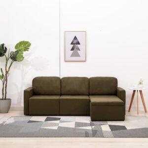 Sofá-cama modular de 3 lugares tecido castanho - PORTES GRÁTIS