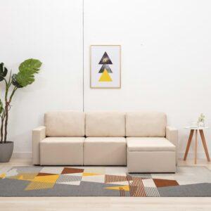 Sofá-cama modular de 3 lugares tecido creme - PORTES GRÁTIS