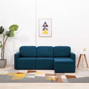 Sofá-cama modular de 3 lugares tecido azul - PORTES GRÁTIS