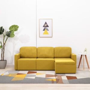 Sofá-cama modular de 3 lugares tecido amarelo - PORTES GRÁTIS