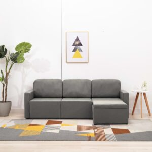 Sofá-cama modular de 3 lugares tecido cinzento-acastanhado - PORTES GRÁTIS