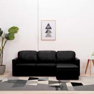 Sofá-cama modular de 3 lugares couro artificial preto - PORTES GRÁTIS