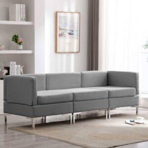 3 pcs conjunto de sofás tecido cinzento-claro - PORTES GRÁTIS