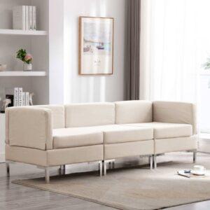 3 pcs conjunto de sofás tecido cor creme - PORTES GRÁTIS