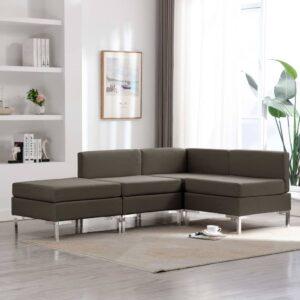 4 pcs conjunto de sofás tecido cinzento-acastanhado - PORTES GRÁTIS