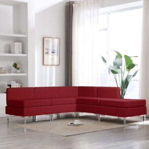 5 pcs conjunto de sofás tecido vermelho tinto - PORTES GRÁTIS