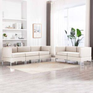 5 pcs conjunto de sofás tecido cor creme - PORTES GRÁTIS