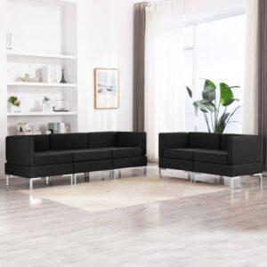 5 pcs conjunto de sofás tecido preto - PORTES GRÁTIS