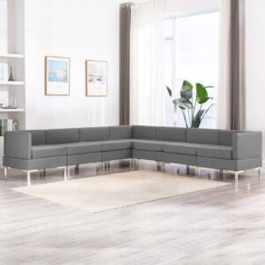7 pcs conjunto de sofás tecido cinzento-claro - PORTES GRÁTIS