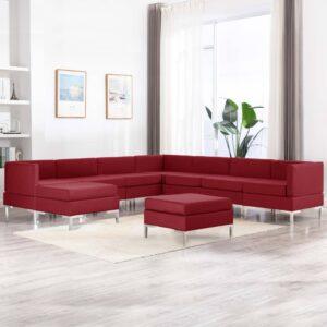 9 pcs conjunto de sofás tecido vermelho tinto - PORTES GRÁTIS