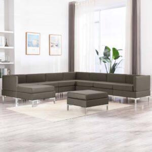 9 pcs conjunto de sofás tecido cinzento-acastanhado - PORTES GRÁTIS