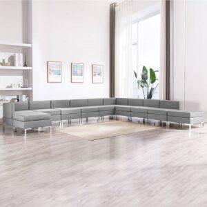 11 pcs conjunto de sofás tecido cinzento-claro - PORTES GRÁTIS