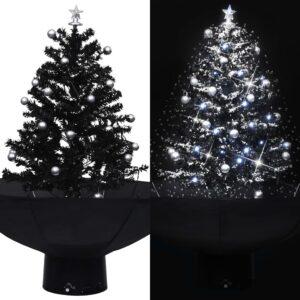 Árvore Natal c/ neve base formato guarda-chuva 75 cm PVC preto - PORTES GRÁTIS