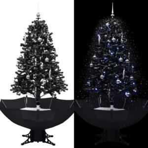 Árvore Natal c/ neve base formato guarda-chuva 170 cm PVC preto - PORTES GRÁTIS