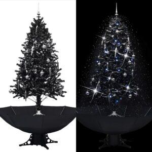 Árvore Natal c/ neve base formato guarda-chuva 190 cm PVC preto - PORTES GRÁTIS