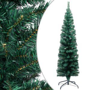 Árvore de Natal artificial fina com suporte 150 cm PVC verde - PORTES GRÁTIS