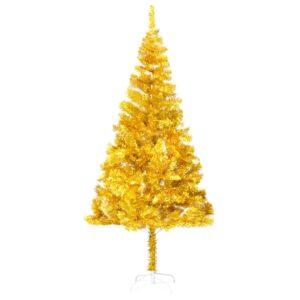 Árvore de Natal artificial com suporte 180 cm PET dourado - PORTES GRÁTIS