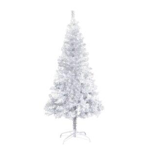 Árvore de Natal artificial com suporte 152 cm PET prateado - PORTES GRÁTIS