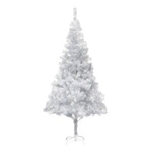 Árvore de Natal artificial com suporte 215 cm PET prateado - PORTES GRÁTIS