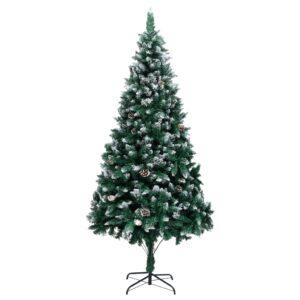 Árvore de Natal artificial com pinhas e neve branca 210 cm - PORTES GRÁTIS