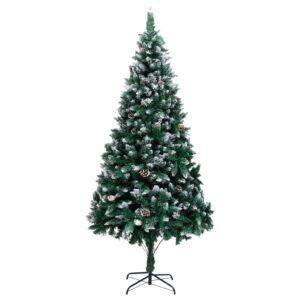 Árvore de Natal artificial com pinhas e neve branca 240 cm - PORTES GRÁTIS