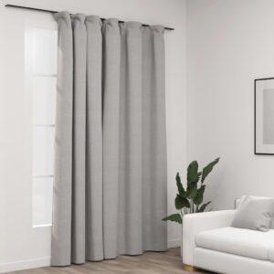 Cortinas opacas aspeto linho com ganchos 290x245 cm cinzento - PORTES GRÁTIS