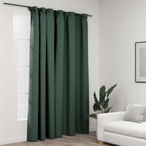 Cortinas opacas aspeto linho com ganchos 290x245 cm verde - PORTES GRÁTIS