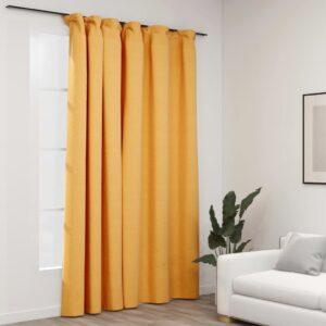 Cortinas opacas aspeto linho com ganchos 290x245 cm amarelo - PORTES GRÁTIS