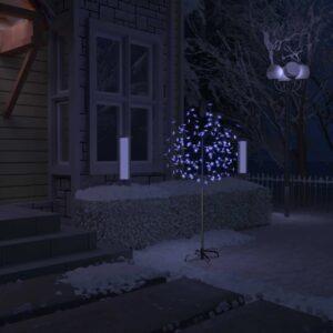 Árvore de Natal 120 luzes LED flor cerejeira luz azul 150 cm - PORTES GRÁTIS
