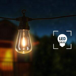 Cordão lâmpadas p/ exterior 60 pcs decoração de natal oval 59 m - PORTES GRÁTIS