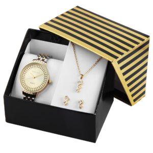 Conjunto Relógio com Colar e Par de Brincos Gold & Silver - 1800189-002