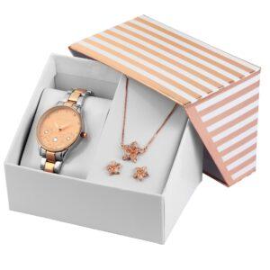 Conjunto Relógio com Colar e Par de Brincos Rosa Gold & Silver Stars - 1800185-003