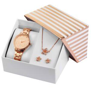 Conjunto Relógio com Colar e Par de Brincos Rosa Gold Stars - 1800185-004