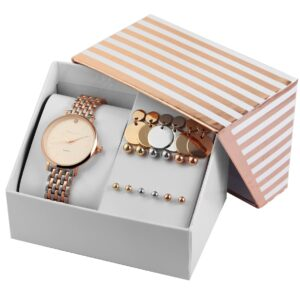 Conjunto Relógio com 9 pares de Brincos Rosa Gold & Silver - 1800184-003