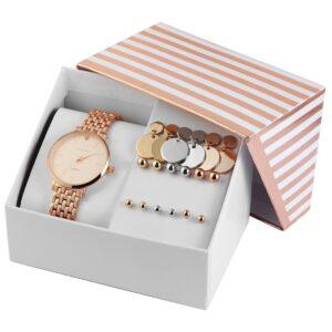 Conjunto Relógio com 9 pares de Brincos Rosa Gold - 1800184-004