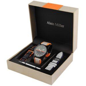 Conjunto Relógio Alain Miller com 2 Braceletes White & Orange - 2900162-004